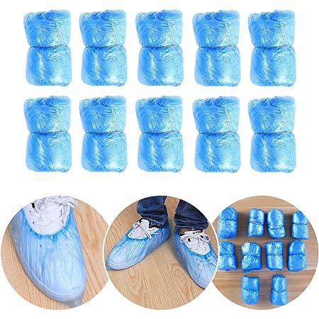 Pixnor Copriscarpe usa e getta in plastica, confezione da 100 (blu)