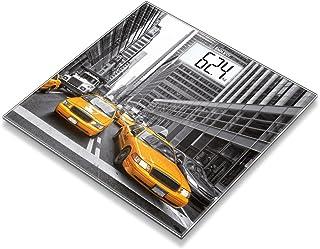 Beurer GS203 - Báscula de baño de vidrio, pantalla LCD blanca, diseño New York, blanco