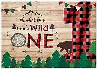 Allenjoy 7x5ft Lumberjack Wild One Backdrop Wonederland Boy Prince 1st First Birthday Supplies Red Black Buffalo Plaid Children Kids Party Decorations Props Baby Shower Decoration Photoshoot Cake