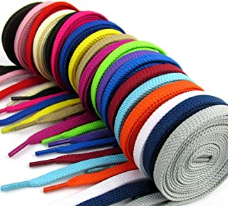 JudyStore 20 Pairs Flat Colored Shoelaces for Sneakers Skate Shoes Boots and Sport Shoes (40'' Colored)