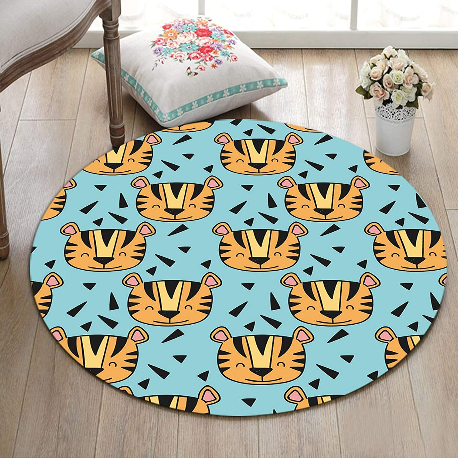 LB Cute Cartoon Tiger Round Rug Mat for Living Room Bedroom, Animal Tiger Play Mat Kids Room Nursery Room Decor Teepee Mat, Easy Clean Soft Flannel Surface Mat, 4 Ft Diameter
