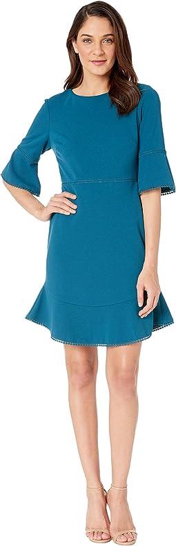 Scuba Crepe Dress with Trim Detail