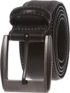 Men's Feather Edged Italian Leather Casual Belt with Stitch Edge