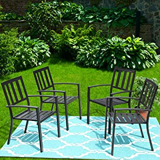 PHI VILLA 4 Piece Black Metal Outdoor Furniture Patio Steel Frame Slat Seat Dining Arm Chairs with Angle Back