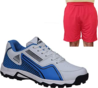 FOOTFIX Men's Arrow White Blue Cricket Shoes, Cricket Sports Shoes with Free Red Shorts