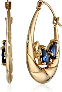 10k Yellow Gold Created Blue and White Sapphire Hoop Earrings