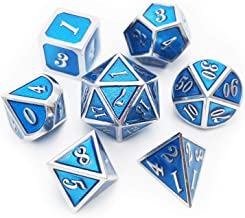 Haxtec Metal Dice Set D&D 7 Die Metal DND Dice for Dungeons and Dragons RPG Table Games-Glossy Enamel Dice (Silver Tiffany Blue)