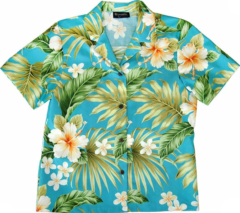 RJC Womens 1X to 3X Plus Full Bloom Tropical Camp Shirt