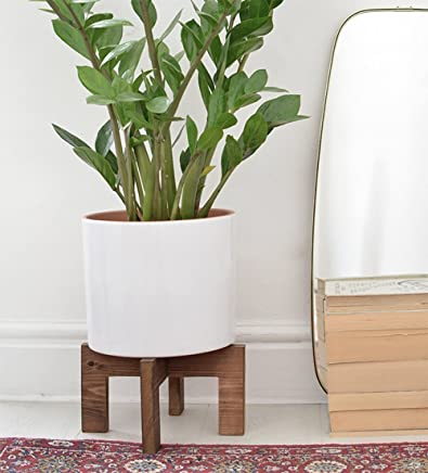 Wooden Corner Indoor Plant Stand Modern   Adjustable For Pots From 10 To 13  Inches