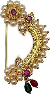 Women's Gold-Plated Bajirao Mastani KASHIBAI Clip on Nath A Indian Marathi Nose Ring