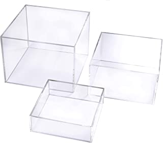 Crystal Clear Acrylic Cube Display Nesting Risers with Hollow Bottoms | Transparent - 3-Pack