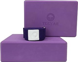 Yoga Block Set - Set of 2 Sturdy Odourless Premium Eco Foam Exercise Block(Yoga Brick) 3 Inch(High Density) or 4 Inch(Medi...