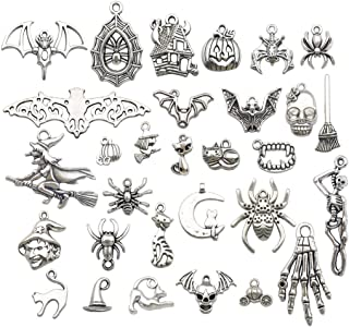 Youdiyla 58 PCS Halloween Charms Collection, Silver Halloween Pumpkin Bat Spider Web Witch Hat Skull Hand Cat Bat All Saint's Day Metal Pendant Supplies Findings for Jewelry Making (HM139)