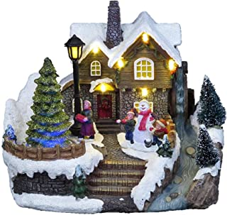 Lightahead Musical Christmas Snow House Figurine with Turning Tree Scene, LED Light with 8 Melodies,