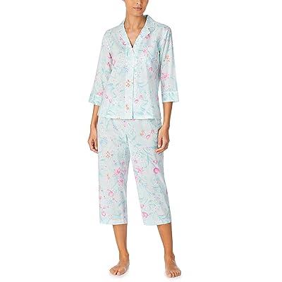 LAUREN Ralph Lauren Classic Wovens 3/4 Sleeve Notch Collar Capri Pants Pajama Set (Mint Floral) Women