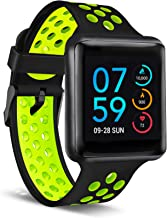 iTouch Air Special Edition Smartwatch Heart Rate Monitor, Blood Oxygen Monitor, Pedometer, for Android and iOS Smart Phones - Perforated Silicone Strap Black/Lime, 45mm (Medium/Large)