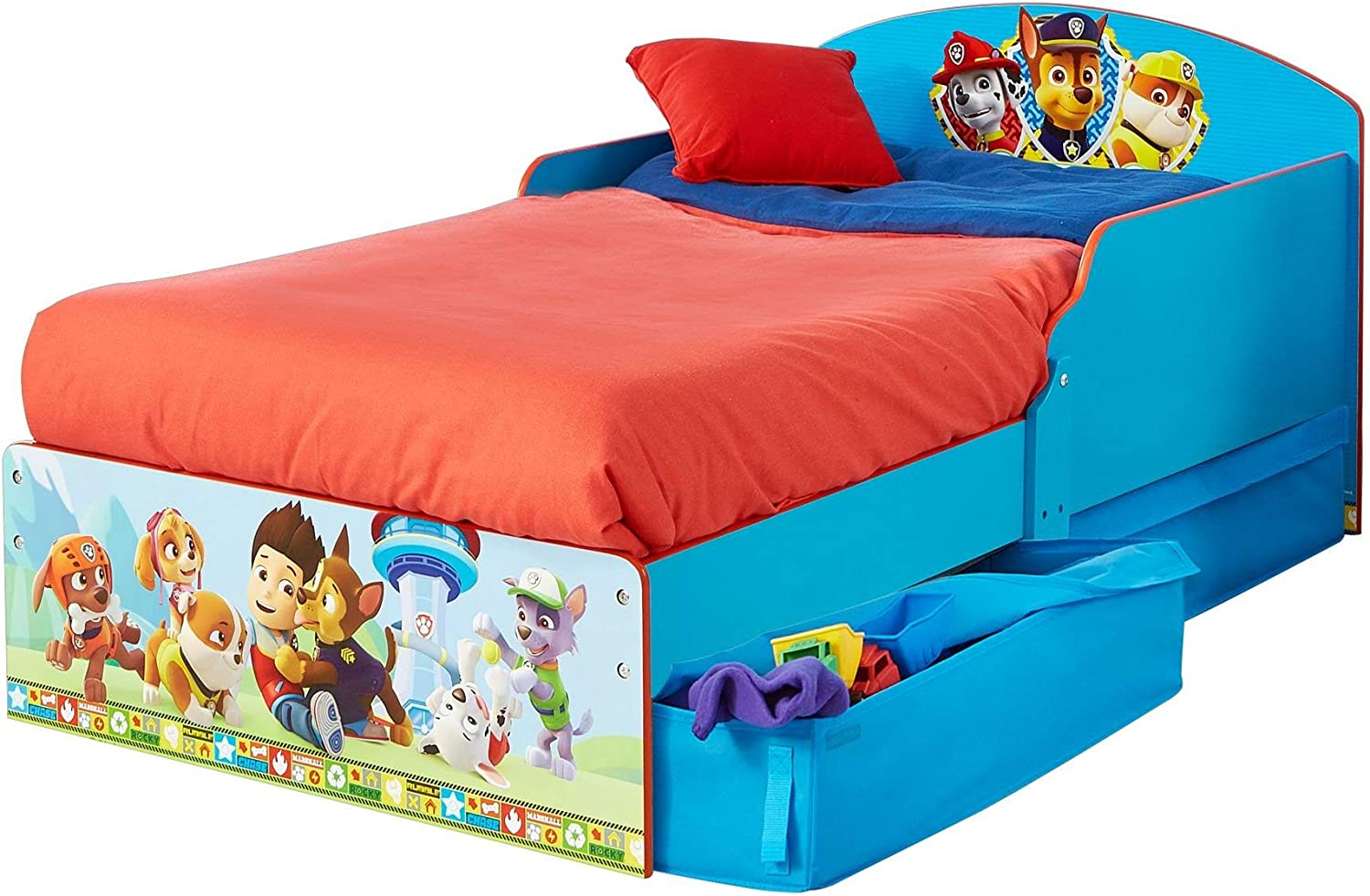 Paw Patrol Toddler Bed With Storage Space Wooden Amazon De Home Kitchen