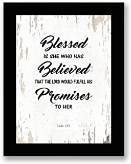 Art Hub Blessed is She Who Has Believed - Framed - Bible Verse Quote Canvas Print, Black Real Wood Frame, White, 7x9