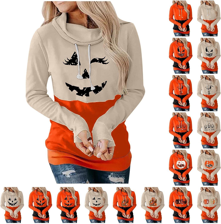 Halloween Hoodies for Women Fashion Long Sleeve Loose Fitting Sweatshirts Halloween Pumpkin Print Casual Pollover Tops