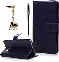 Note 5 Case,Samsung Galaxy Note 5 Case - Badalink Fashion Wallet PU Leather with Embossed Flowers Butterfly [Card Holders] Flip Cover with Hand Strap & 3D Cute Elephant Dust Plug & Stylus Pen - Purple