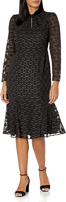 Donna Morgan Women's Foiled Textured Polka Dot Keyhole Fit and Flare Dress