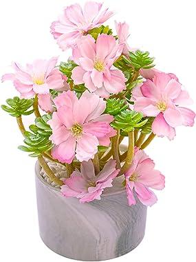 AUEAR, 50 Pack Artificial Silk Cherry Blossom Flowers Heads Fake Wholesale Peony Daisy Decor for Bridal Hair Clips Headbands