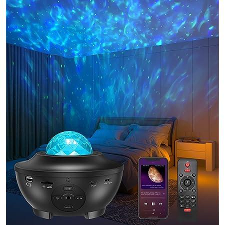 LED Sternenhimmel Projektor, Amouhom Sternenlicht Projektor mit Fernbedienung/Bluetooth 5.0/ 3 Helligkeitsstufen Spielelichter Geschenke für Weihnachten Party Schlafzimmer Spielzimmer Sportraum