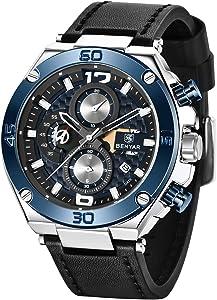 Montres Hommes BY BENYAR Chronographe Analogique Mouvement à Quartz Grand Cadran Bleu 3AMT Imperméable Bracelet en Cuir pour Homme Elegante Cadeau