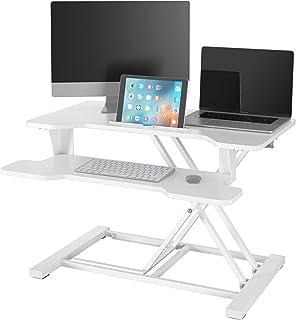 Sit Stand Desk Laptop Stand Height Adjustable Standing Desk Converter Screen Riser Computer Workstation (White)