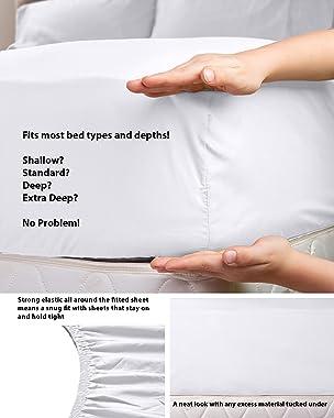 "LuxClub 6 PC Sheet Set Bamboo Sheets Deep Pockets 18"" Eco Friendly Wrinkle Free Sheets Machine Washable Hotel Bedding Sil"