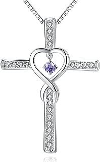 Milamiya Infinity Love God Cross CZ Pendant Necklace with Birthstone, Birthday Gifts, Jewelry for Women, Girls