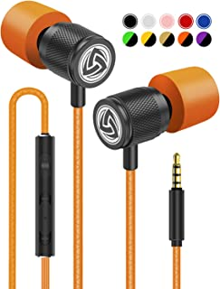 Wired Earbuds - LUDOS Ultra in Ear Headphones with Microphone, Earphones with Mic and Volume Control, Memory Foam, Reinforced Cable, Bass Compatible with iPhone, Apple, iPad, Computer, Laptop, PC