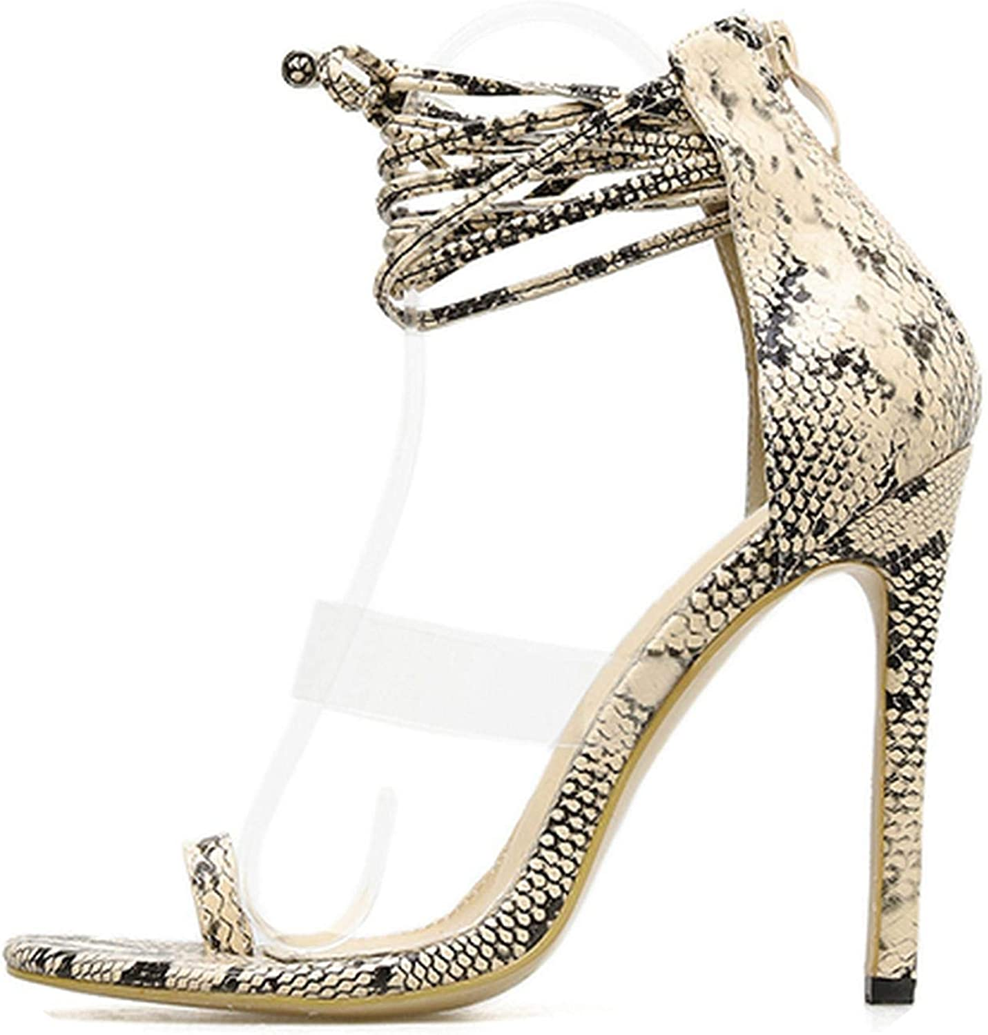 Transparent Sandals Female Fish Mouth Cross Straps Catwalk Women's shoes Snake Pattern Fashion Stiletto Heels