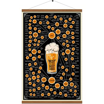 Varieties Of Beer Chart Poster Print On Canvas Infographic Hanger Wall Art Drink Painting Lover Gift For Home Kitchen Bar Pub Decor 16x24 Inch (with Frame)