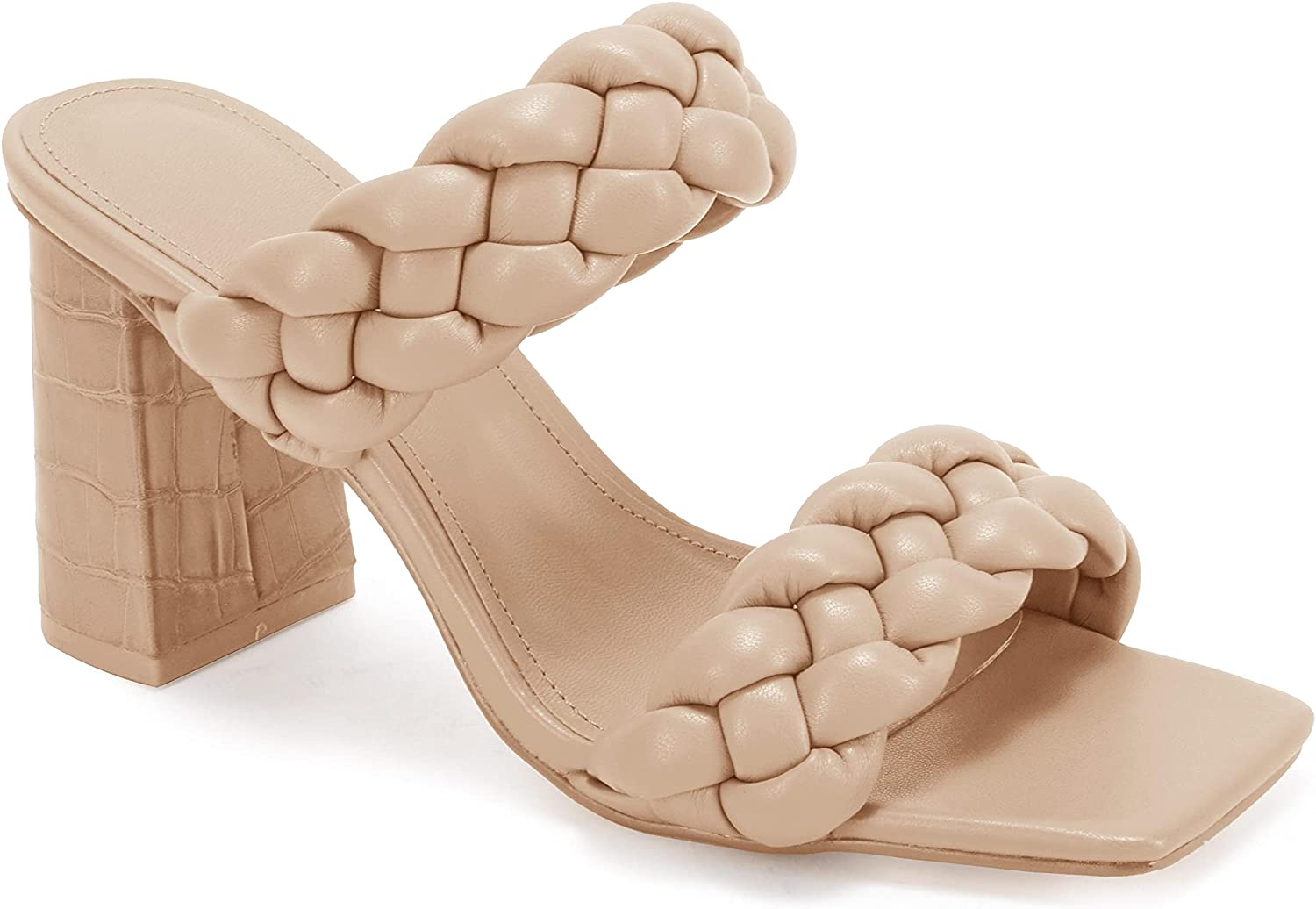 Womens Braided Heeled 正規販売店 Sandals Backless Toe Square Open Str 毎週更新 Block