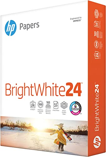 HP Paper Printer Paper 8.5x11 BrightWhite 24 lb 1 Ream 500 Sheets 100 Bright Made in USA FSC Certified Copy Paper Com...