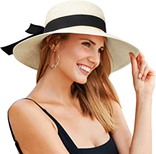 AOMAIS Sun Hats for Women, Foldable Wide Brim UV UPF 50+ Beach Fedora Straw Hat