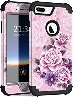 iPhone 8 Plus Case, iPhone 7 Plus Case, Hocase Heavy Duty Shockproof Protection Hard Plastic+Silicone Rubber Hybrid Protective Case for iPhone 8 Plus/iPhone 7 Plus - Light Pink/Purple Flowers