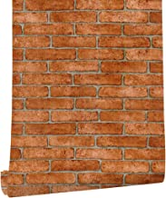 HAOKHOME Brick Wallpaper Roll Orange Grey Self Adhesive Kitchen Living Room Decor 62033