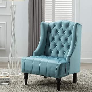 Artechworks Velvet High Wing Back Accent Chair for Living Room, Teal Green