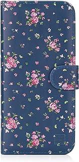32nd Floral Series - Funda Tipo Libro de Piel Sintetica con diseño Floral para Samsung Galaxy J4 Plus (2018), Carcasa de Cuero diseñada con Cartera y Cierre Magnetico - Rosas Vintage en Añil