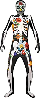 3D Printed Skeleton Skull Jumpsuit Bodysuit with Headcover for Men's Halloween Cosplay
