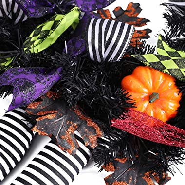 wlflash Happy Halloween Wreath for Front Door Decoration with Skeleton Artificial Bone Orange Ornaments Maple Leaf for Party