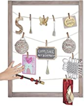Reimagine Hanging Photo Display- Wood Wall Picture Frame Collage Board for Hanging Prints, Instax, Polaroid, Holiday Cards, Artwork- Display 2 Ways- Adjustable String, 40 Clothespin Clips- Rustic Grey