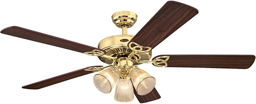 Westinghouse Lighting 7233800 Vintage Indoor Ceiling Fan With Light 52 Inch Polished Brass Amazon Com