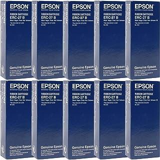 Genuine Epson (ERC-27B) 10-Pack Black Ribbon Cartridge Black for Epson POS Printers: TM290, TM295 Dot Matrix - 750000 Char...