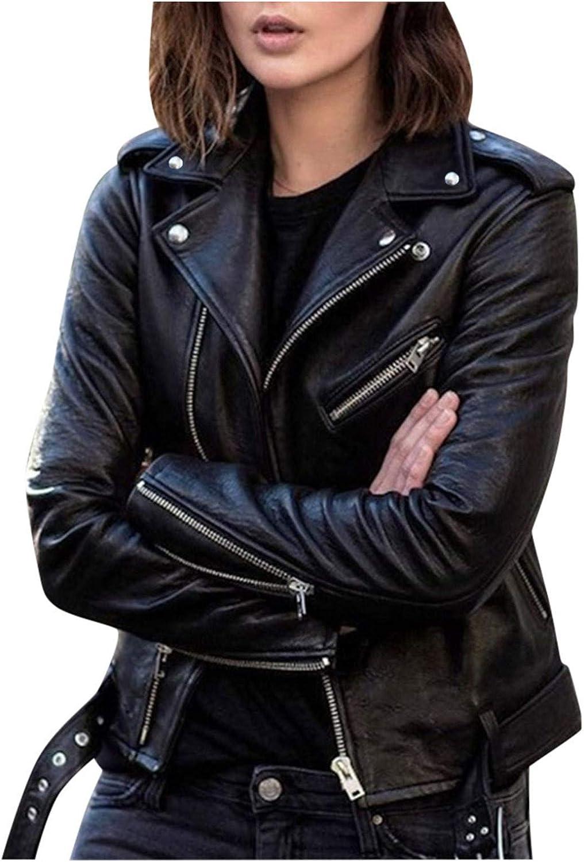 haoricu Women Faux Leather Textured Short Moto Financial Long Beach Mall sales sale Jacket Pu