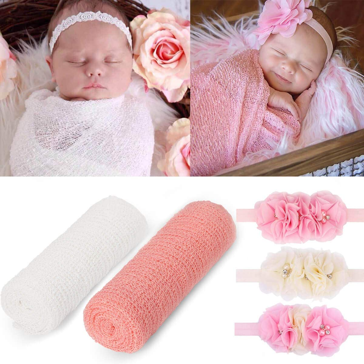 12 Pieces Newborn Baby Photography Props Long Ripple Stretch Wrap DIY Girl  Boy Photo Props Blanket with Headbands White + Pink