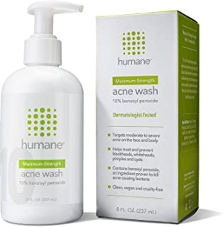 Humane Maximum-Strength Acne Wash - 10% Benzoyl Peroxide Acne Treatment for Face, Skin, Butt, Back and Body - 8 Fl Oz - De...