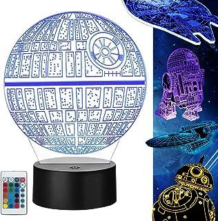 Lampara Star Wars 3D, 5 Pack 3D Lampara Noche 4 Modos de